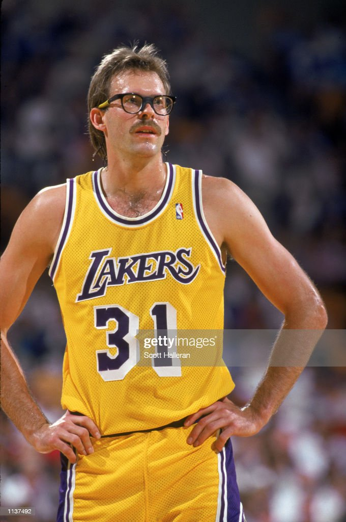 Kurt Rambis of the Los Angeles Lakers stands on the court during an NBA game at the Great Western Forum in Los Angeles California in 1987