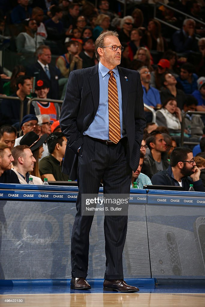 Kurt Rambis of the New York Knicks looks on during the game against the Los Angeles Lakers on November 8 2015 at Madison Square Garden in New York...