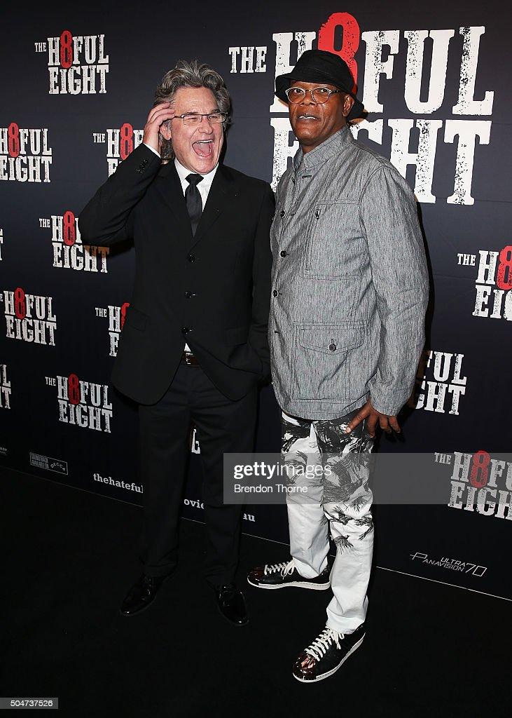 Kurt Russell and Samuel L. Jackson arrive ahead of the Australian premiere of The Hateful Eight at Event Cinemas George Street on January 13, 2016 in Sydney, Australia.