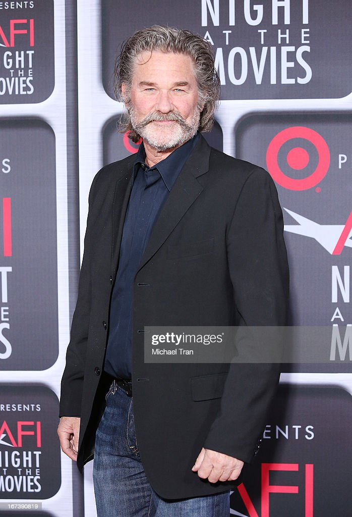 <a gi-track='captionPersonalityLinkClicked' href=/galleries/search?phrase=Kurt+Russell&family=editorial&specificpeople=206294 ng-click='$event.stopPropagation()'>Kurt Russell</a> arrives at the Target presents AFI Night at the movies held at ArcLight Hollywood on April 24, 2013 in Hollywood, California.