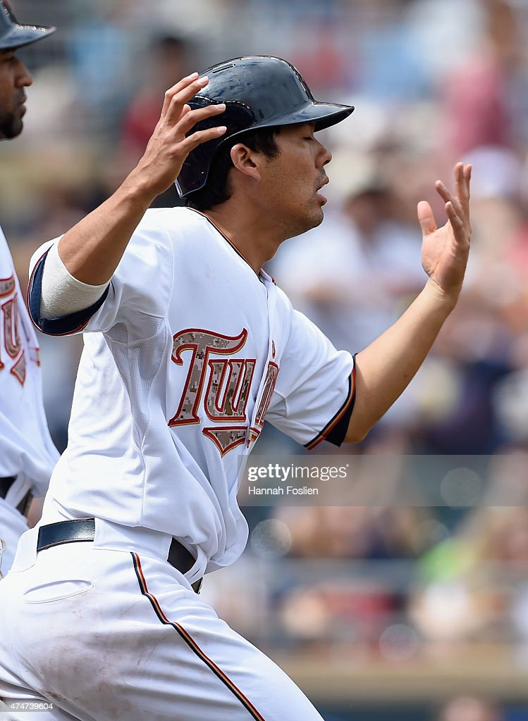 Kurt Suzuki #8 of the Minnesota Twins reacts to being called out at home plate during the sixth inning of the game against the Boston Red Sox on May 25, 2015 at Target Field in Minneapolis, Minnesota. The Twins defeated the Red Sox 7-2.