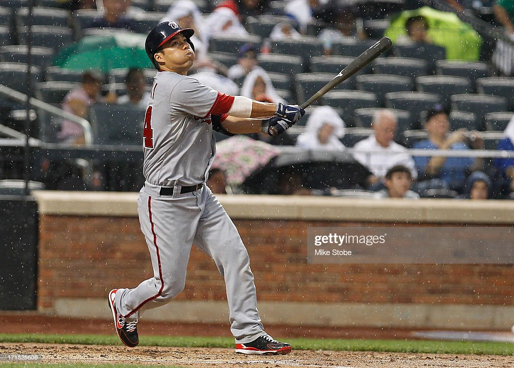<a gi-track='captionPersonalityLinkClicked' href=/galleries/search?phrase=Kurt+Suzuki&family=editorial&specificpeople=682702 ng-click='$event.stopPropagation()'>Kurt Suzuki</a> #24 of the Washington Nationals at bat against the New York Mets at Citi Field on June 28, 2013 at Citi Field in the Flushing neighborhood of the Queens borough of New York City. Nationals defeated the Mets 6-4.