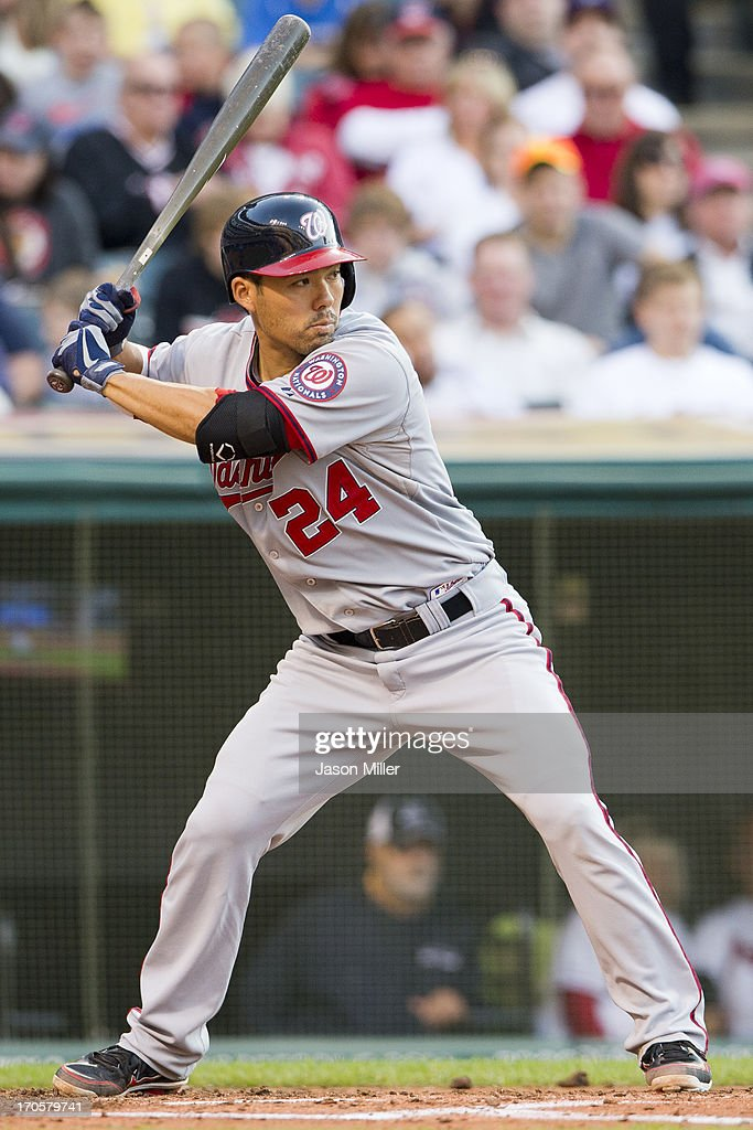<a gi-track='captionPersonalityLinkClicked' href=/galleries/search?phrase=Kurt+Suzuki&family=editorial&specificpeople=682702 ng-click='$event.stopPropagation()'>Kurt Suzuki</a> #24 of the Washington Nationals bats during the fourth inning against the Cleveland Indians at Progressive Field on June 14, 2013 in Cleveland, Ohio.