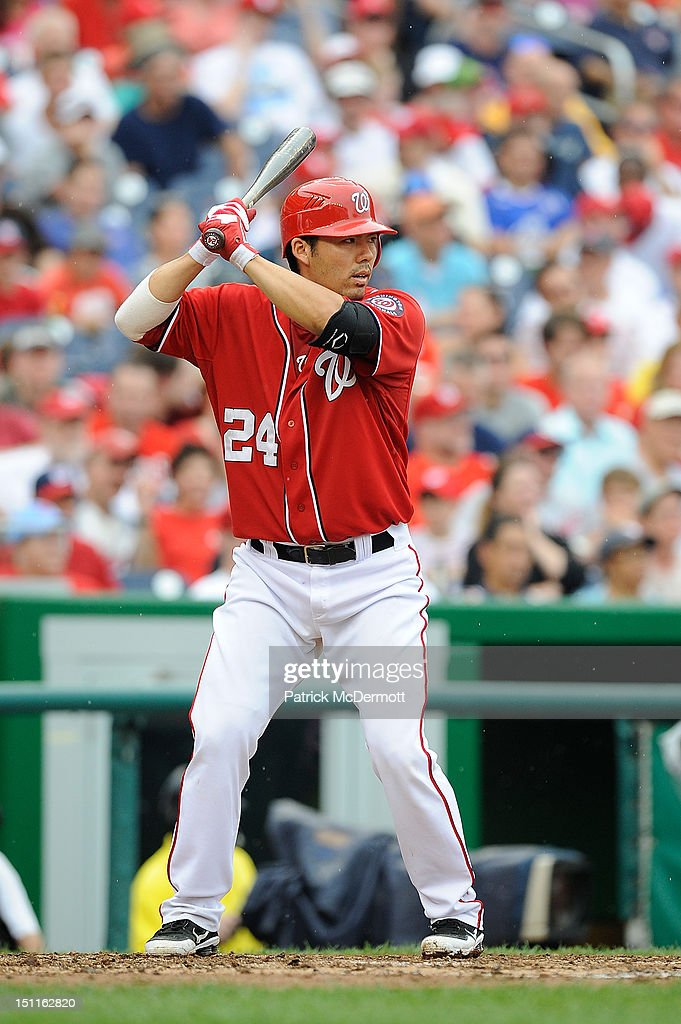 <a gi-track='captionPersonalityLinkClicked' href=/galleries/search?phrase=Kurt+Suzuki&family=editorial&specificpeople=682702 ng-click='$event.stopPropagation()'>Kurt Suzuki</a> #24 of the Washington Nationals hits against the St. Louis Cardinals at Nationals Park on September 2, 2012 in Washington, DC.