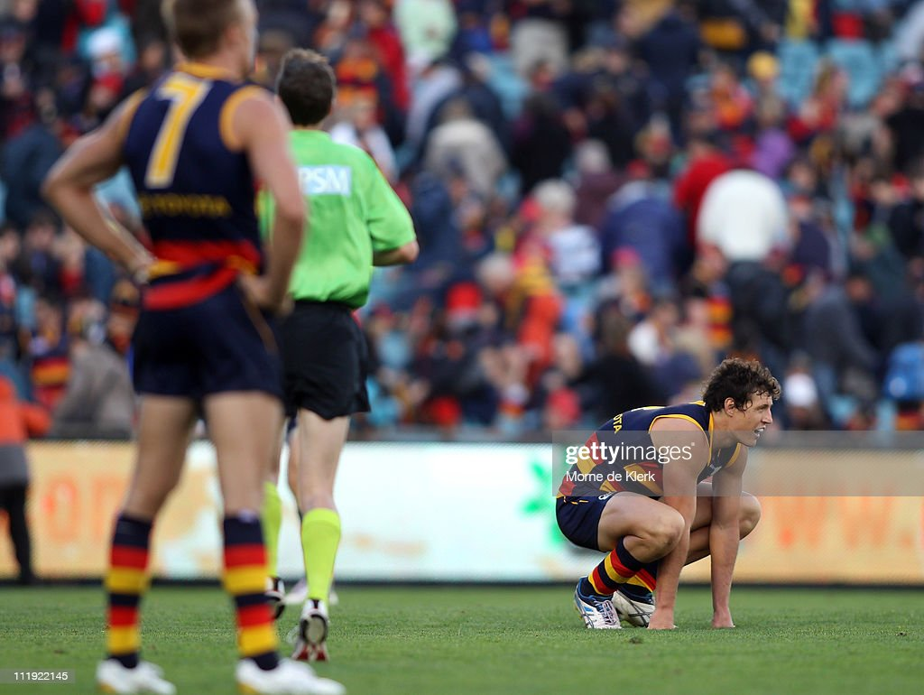 Kurt Tippett of the Crows reacts after the round three AFL match between the Adelaide Crows and the Fremantle Dockers at AAMI Stadium on April 9, 2011 in Adelaide, Australia.