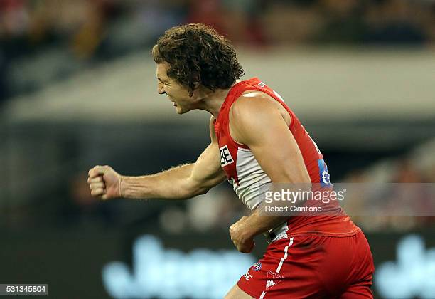 Kurt Tippett of the Swans celebrates a goal during the round eight AFL match between the Richmond Tigers and the Sydney Swans at Melbourne Cricket...