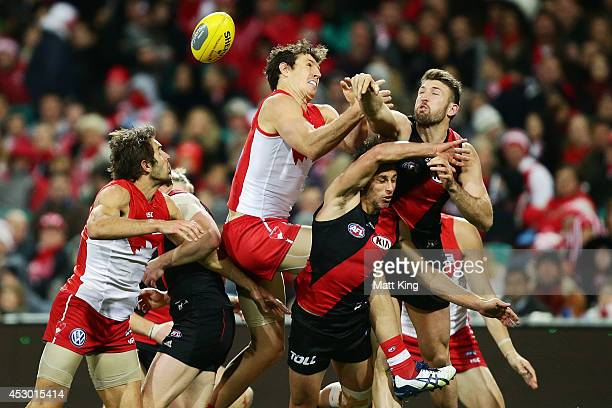 Kurt Tippett of the Swans competes for the ball during the round 19 AFL match between the Sydney Swans and the Essendon Bombers at Sydney Cricket...