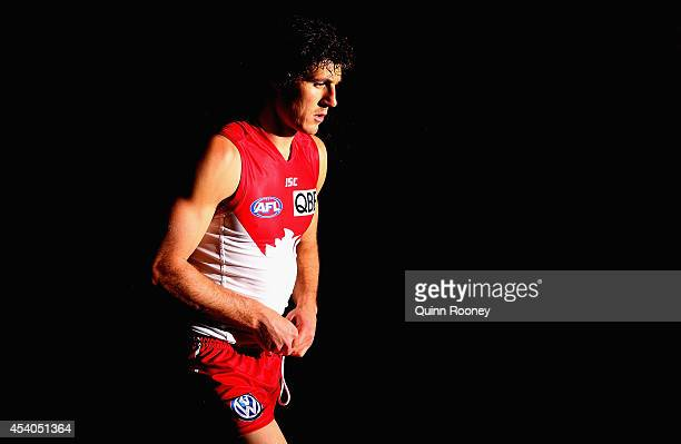 Kurt Tippett of the Swans walks out onto the field during the round 22 AFL match between the Western Bulldogs and the Sydney Swans at Etihad Stadium...