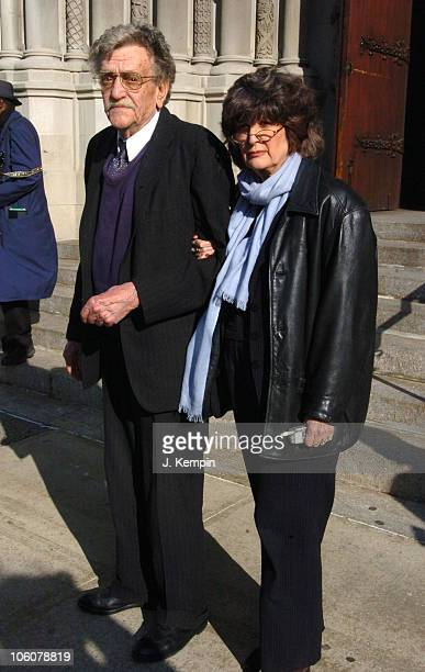Kurt Vonnegut and wife Jill Krementz during Funeral Service For The Late Photographer Gordon Parks at The Riverside Church in New York City New York...