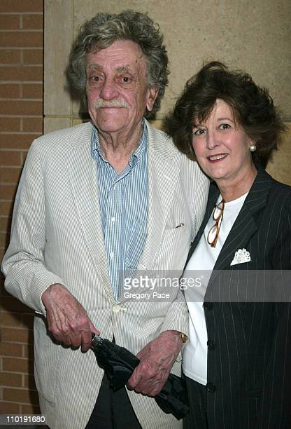 Kurt Vonnegut and wife Jill Krementz during 'The Hunting of the President' New York Premiere at Skirball Center for the Performing Arts at New York...