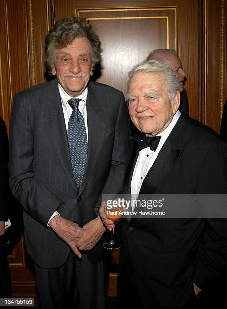 Kurt Vonnegut Jr and Andy Rooney during 2004 Writers Guild of America East Awards Arrivals at Pierre Hotel in New York City New York United States