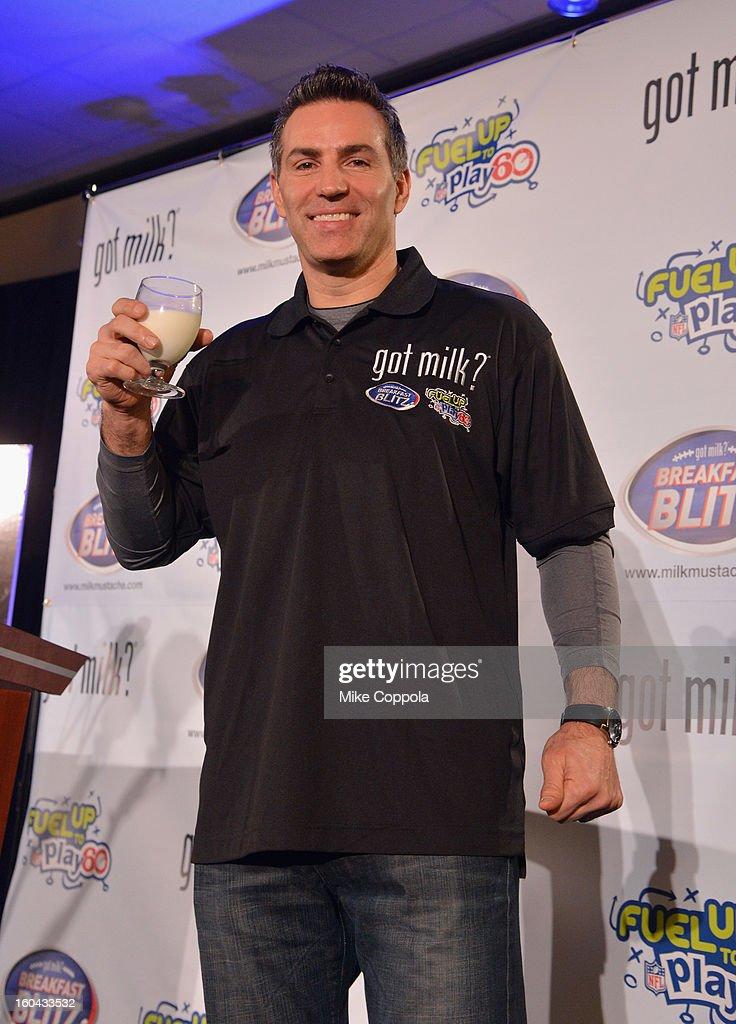 Kurt Warner unveils new milk mustache 'Got Milk' Super Bowl ad at Super Bowl XLVII Media Center on January 31 2013 in New Orleans Louisiana