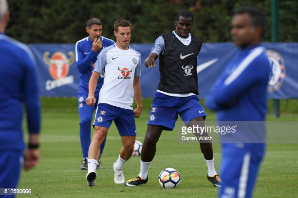 Kurt Zouma and Cesar Azpilicueta of Chelsea during a training session at Chelsea Training Ground on July 11 2017 in Cobham England