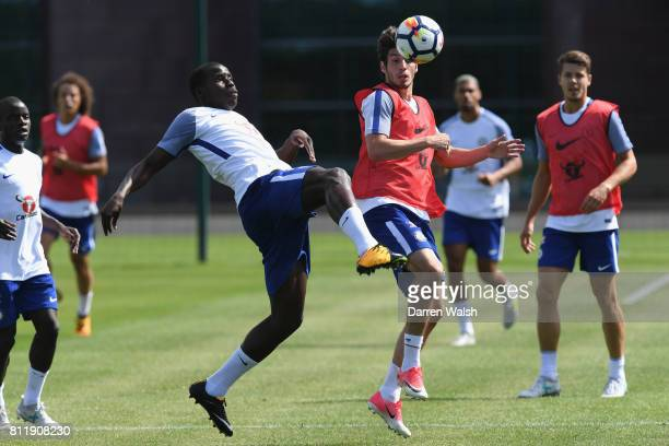 Kurt Zouma and Lucas Piazon of Chelsea during a training session at Chelsea Training Ground on July 10 2017 in Cobham England
