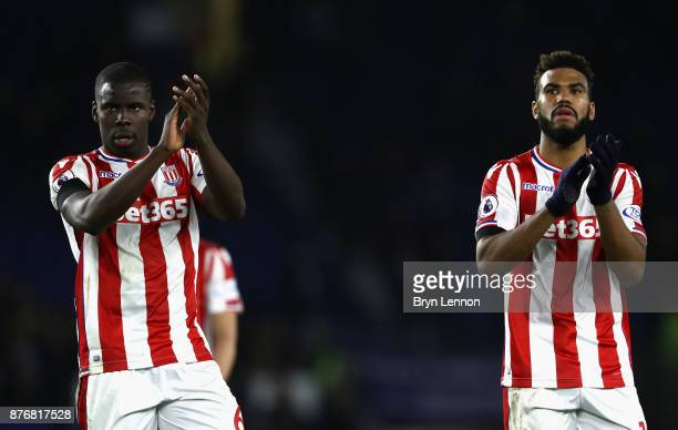 Kurt Zouma and Maxim ChoupoMoting of Stoke City show appreciation to the fans following the Premier League match between Brighton and Hove Albion and...
