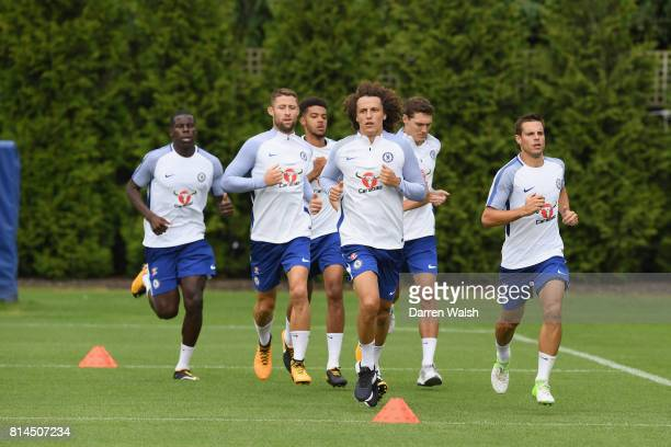 Kurt Zouma Gary Cahill Jake ClarkeSalter David Luiz Andreas Christensen and Cesar Azpilicueta of Chelsea during a training session at Chelsea...
