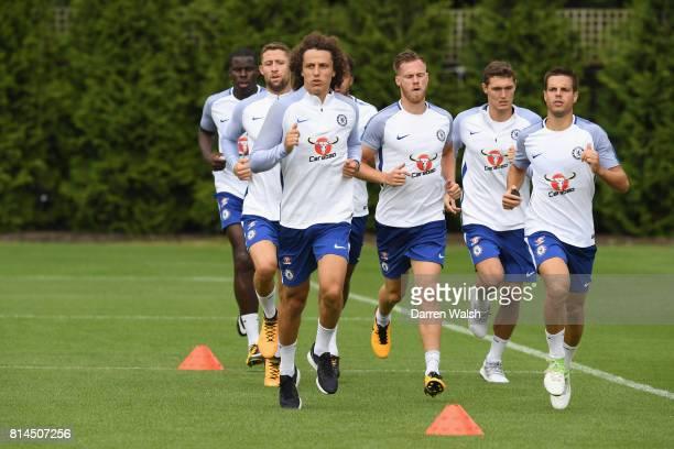 Kurt Zouma Gary Cahill Jake ClarkeSalter David Luiz Tomas Kalas Andreas Christensen and Cesar Azpilicueta of Chelsea during a training session at...