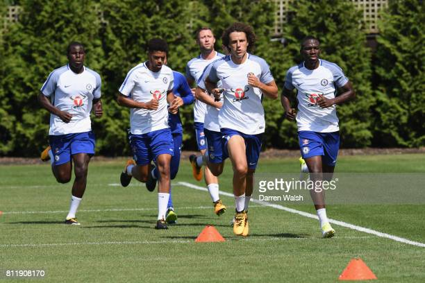 Kurt Zouma Jake ClarkeSalter Kenneth Omeruo and David Luiz of Chelsea during a training session at Chelsea Training Ground on July 10 2017 in Cobham...