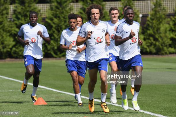 Kurt Zouma Jake ClarkeSalter Kenneth Omeruo Andreas Christensen and David Luiz of Chelsea during a training session at Chelsea Training Ground on...