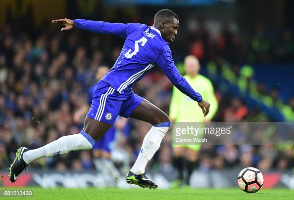 Kurt Zouma of Chelschallenges in action during The Emirates FA Cup Third Round match between Chelsea and Peterborough United at Stamford Bridge on...