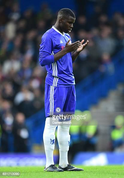 Kurt Zouma of Chelschallenges prepares for the match prior to kick off during The Emirates FA Cup Third Round match between Chelsea and Peterborough...