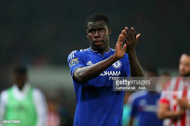 Kurt Zouma of Chelsea after the Capital One Cup Fourth Round match between Stoke City and Chelsea at Britannia Stadium on October 27 2015 in Stoke on...