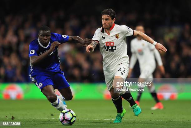 Kurt Zouma of Chelsea and Daryl Janmaat of Watford battle for possession during the Premier League match between Chelsea and Watford at Stamford...