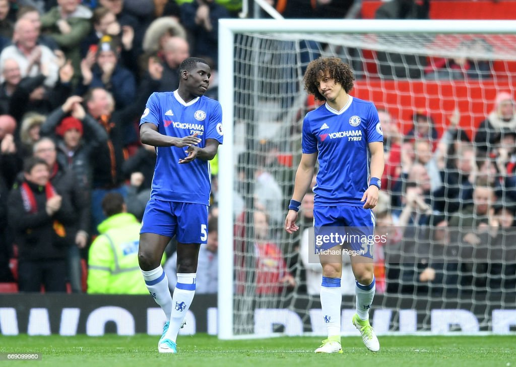 Kurt Zouma of Chelsea and David Luiz of Chelsea are dejected after Marcus Rashford of Manchester United (not pictured) scored his sides first goal during the Premier League match between Manchester United and Chelsea at Old Trafford on April 16, 2017 in Manchester, England.