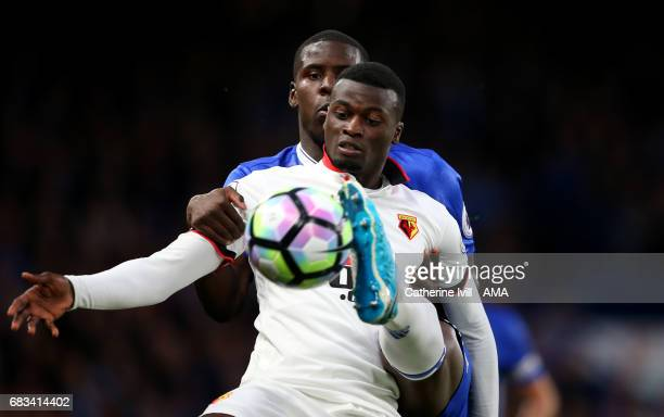 Kurt Zouma of Chelsea and M'Baye Niang of Watford during the Premier League match between Chelsea and Watford at Stamford Bridge on May 15 2017 in...