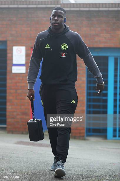 Kurt Zouma of Chelsea arrives at the stadiium prior to the Premier League match between Crystal Palace and Chelsea at Selhurst Park on December 17...