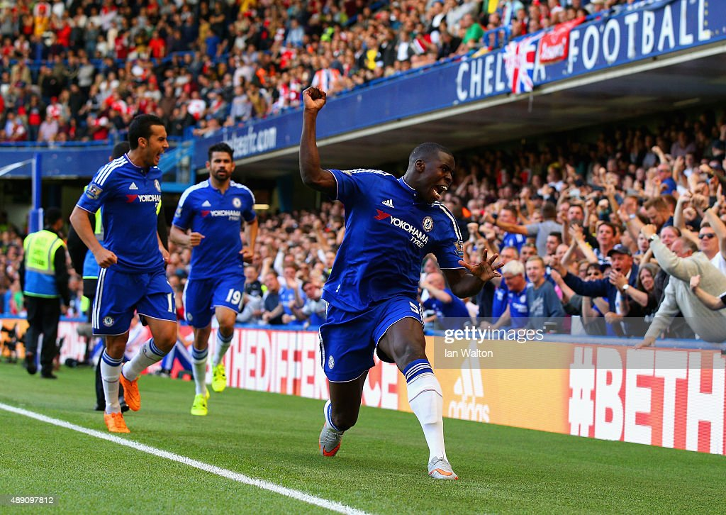 <a gi-track='captionPersonalityLinkClicked' href=/galleries/search?phrase=Kurt+Zouma&family=editorial&specificpeople=7905425 ng-click='$event.stopPropagation()'>Kurt Zouma</a> (1st R) of Chelsea celebrates scoring his team's first goal during the Barclays Premier League match between Chelsea and Arsenal at Stamford Bridge on September 19, 2015 in London, United Kingdom.