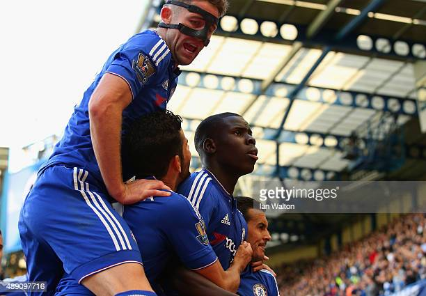 Kurt Zouma of Chelsea celebrates scoring his team's first goal with his team mates during the Barclays Premier League match between Chelsea and...