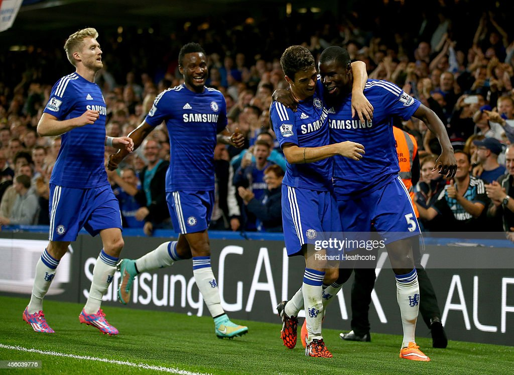 <a gi-track='captionPersonalityLinkClicked' href=/galleries/search?phrase=Kurt+Zouma&family=editorial&specificpeople=7905425 ng-click='$event.stopPropagation()'>Kurt Zouma</a> of Chelsea celebrates scoring the first goal during the Captial One Cup Third Round match between Chelsea and Bolton Wanderers at Stamford Bridge on September 24, 2014 in London, England.