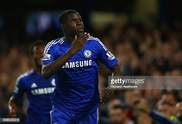 Kurt Zouma of Chelsea celebrates scoring the first goal during the Captial One Cup Third Round match between Chelsea and Bolton Wanderers at Stamford...