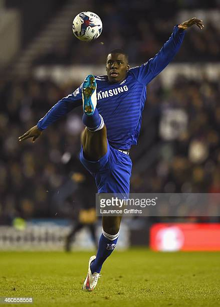Kurt Zouma of Chelsea controls the ball during the Capital One Cup QuarterFinal match between Derby County and Chelsea at Pride Park Stadium on...