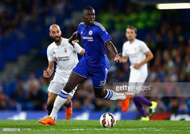 Kurt Zouma of Chelsea in action during the Pre Season Friendly match between Chelsea and Fiorentina at Stamford Bridge on August 5 2015 in London...