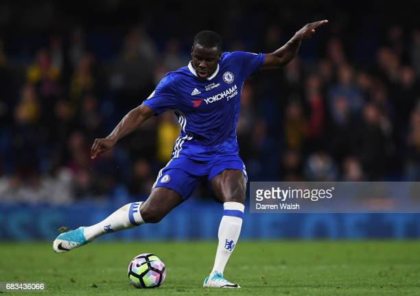 Kurt Zouma of Chelsea in action during the Premier League match between Chelsea and Watford at Stamford Bridge on May 15 2017 in London England