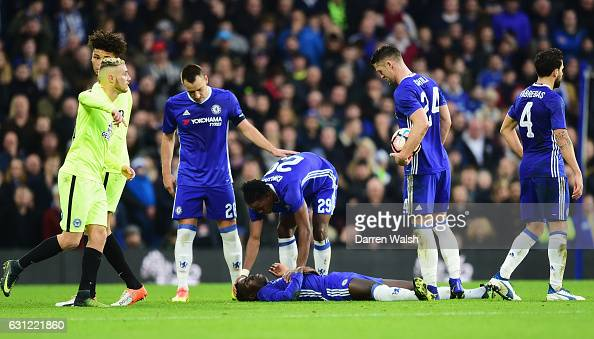 Kurt Zouma of Chelsea is injured during The Emirates FA Cup Third Round match between Chelsea and Peterborough United at Stamford Bridge on January 8...