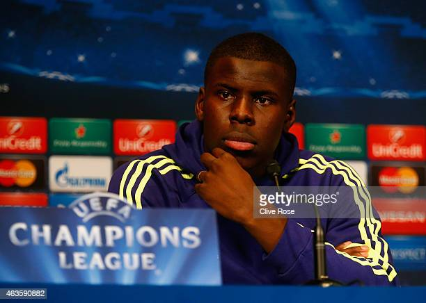 Kurt Zouma of Chelsea looks on during a Chelsea press conference ahead of the UEFA Champions League round of 16 match against Paris SaintGermain at...