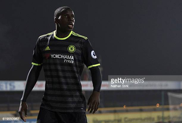 Kurt Zouma of Chelsea looks on during the Premier League 2 match between Everton U21s and Chelsea U21s at Haig Avenue Stadium on October 31 2016 in...