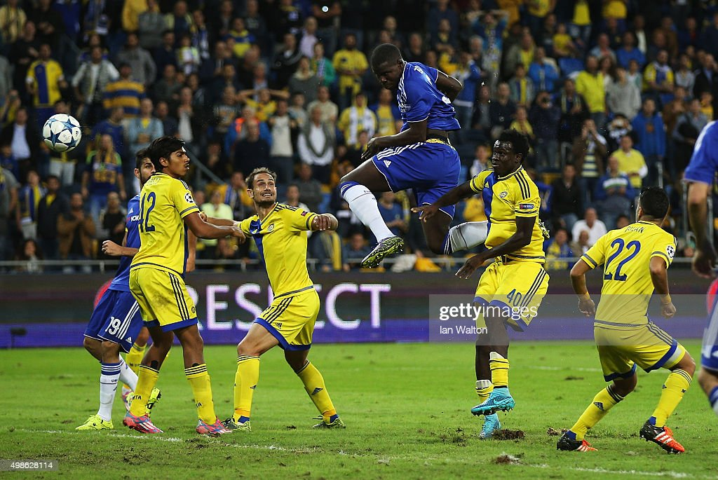 Kurt Zouma of Chelsea scores his teams fourth goal during the UEFA Champions League Group G match between Maccabi Tel-Aviv FC and Chelsea FC at Sammy Ofer Stadium on November 24, 2015 in Haifa, Israel.