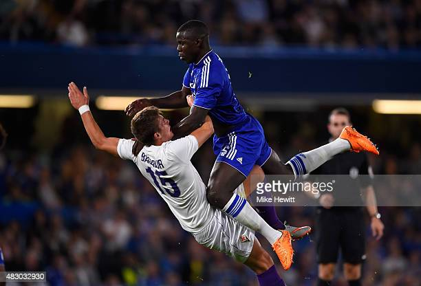 Kurt Zouma of Chelsea smashes into Ricardo Bagadur of Fiorentina during a Pre Season Friendly between Chelsea and Fiorentina at Stamford Bridge on...