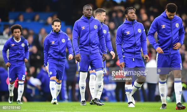 Kurt Zouma of Chelsea walks out prior to kick off during The Emirates FA Cup Third Round match between Chelsea and Peterborough United at Stamford...