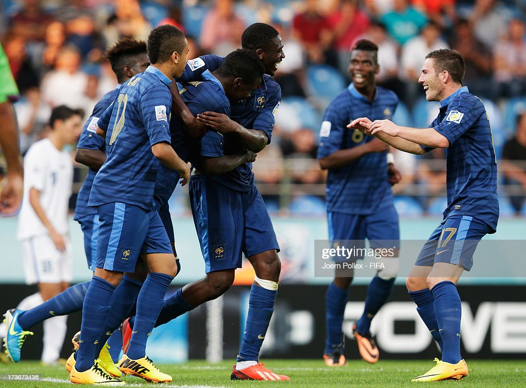 Kurt Zouma (2nd L) of France celebrates with his team mates after scoring his team's fourth goal during the FIFA U-20 World Cup Quarter Final match between France and Uzbekistan at Yeni Sehir Stadium on July 6, 2013 in Rize, Turkey.