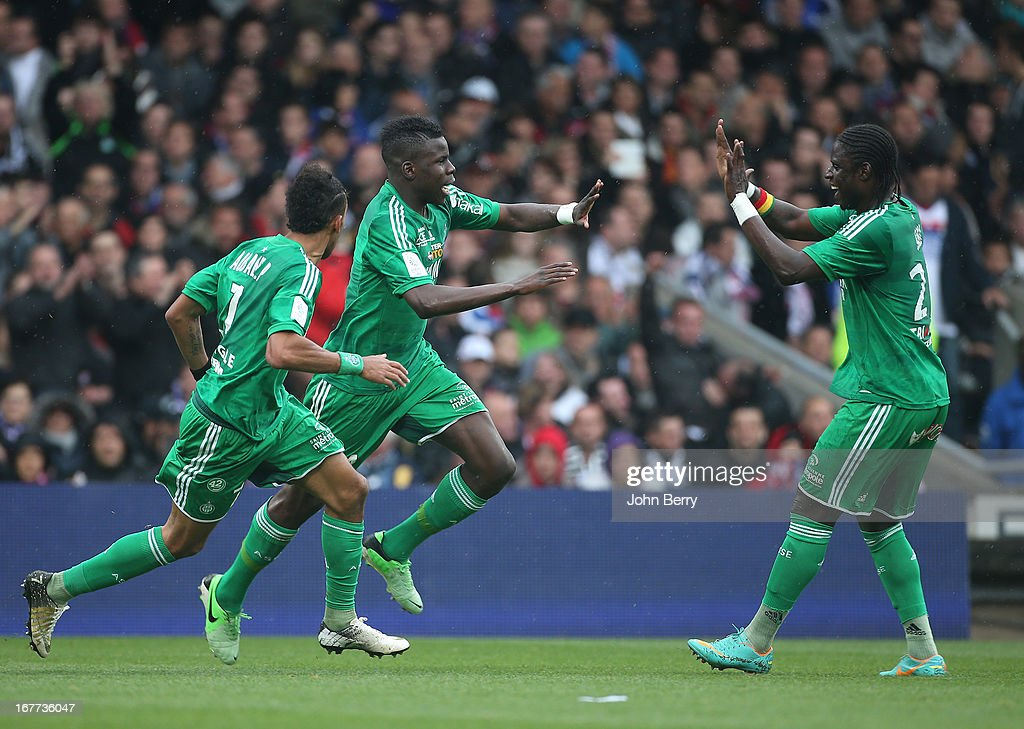 Kurt Zouma of Saint-Etienne celebrates his goal during the Ligue 1 match between Olympique Lyonnais, OL, and AS Saint-Etienne, ASSE, at the Stade Gerland on April 28, 2013 in Lyon, France.