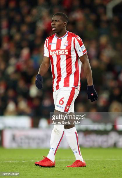 Kurt Zouma of Stoke City during the Premier League match between Stoke City and Liverpool at Bet365 Stadium on November 29 2017 in Stoke on Trent...