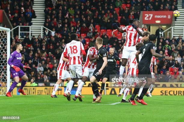 Kurt Zouma of Stoke City heads the ball away during a corner in the Premier League match between Stoke City and Swansea City at the bet365 Stadium on...