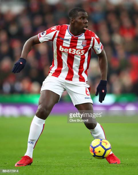 Kurt Zouma of Stoke City in action during the Premier League match between Stoke City and Swansea City at Bet365 Stadium on December 2 2017 in Stoke...