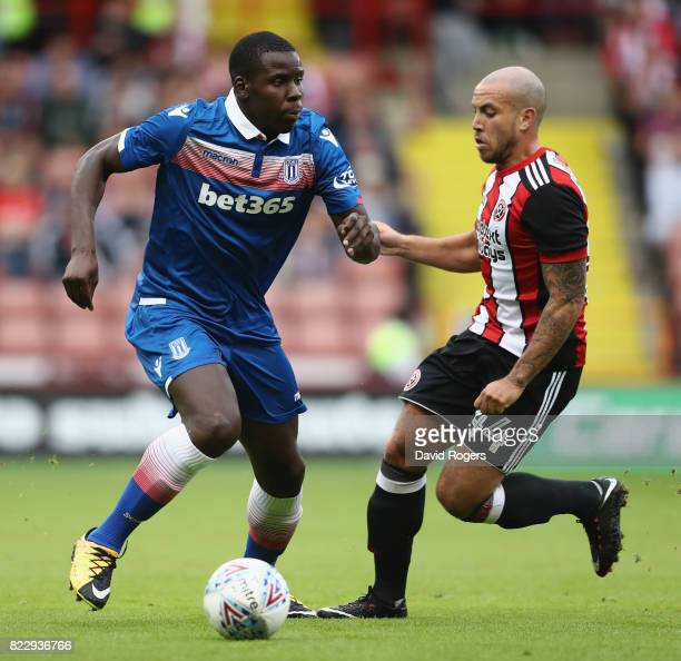 Kurt Zouma of Stoke City runs with the ball during the pre season friendly match between Sheffield United and Stoke City at Bramall Lane on July 25...