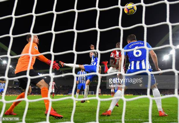 Kurt Zouma of Stoke City scoeres his sides second goal during the Premier League match between Brighton and Hove Albion and Stoke City at Amex...
